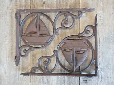 2 CAST IRON ANTIQUE STYLE SAIL BOAT NAUTICAL BRACKETS GARDEN BRACES SHELF Corbel