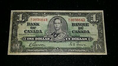 1937 Bank of Canada One Dollar Banknote King George VI    VG note  # 80