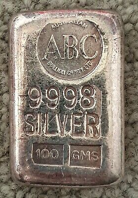 Vintage ABC 100 Grams .9998  Poured Silver Bar VERY RARE
