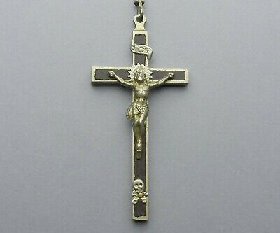French, Antique Religious Crucifix. Brass & Wood. Pectoral Cross. Jesus Christ.