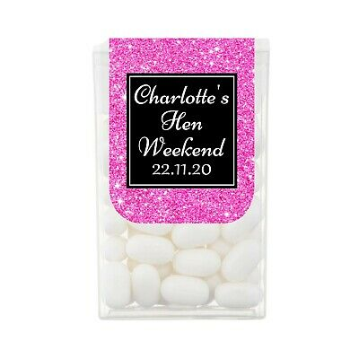 Glitter Effect Personalised Tic Tac Sweets Hen Night Party Favours