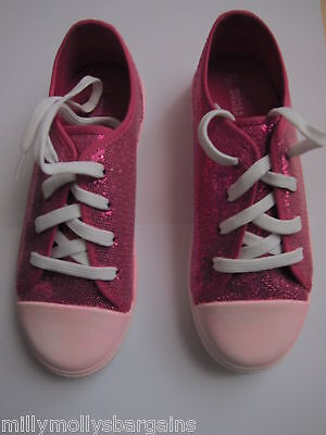 New Girls Marks & Spencer White & Pink Glitter Pumps Shoes Size 13 Kids DEFECTS