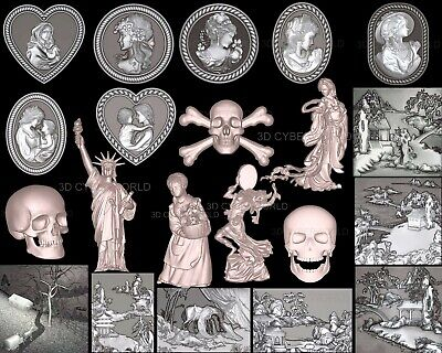 21 Pieces 3D STL Models (WOMAN/SKULL/FACE/LIBERTY) for CNC Artcam Aspire Printer