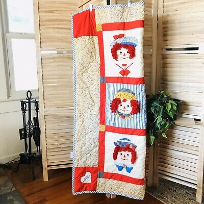 """Applause Raggedy Ann & Andy Quilted Soft Baby Child Blanket 54"""" x 47"""" Twins"""