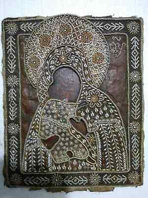 """Antique 19c Russian Orthx Hand Painted Wood Icon """"The Virgin of Vladimir"""""""