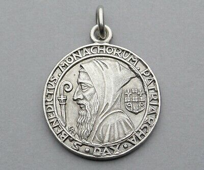 French, Antique Religious Large Pendant. Saint Benedict of Nursia. Medal by Py.