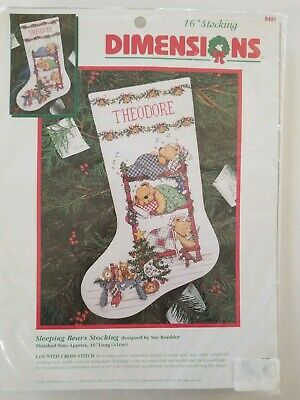 Dimensions Sleeping Bears Christmas Stocking Counted Cross Stitch Kit 8491