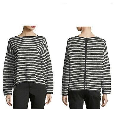 XL NWT Eileen Fisher Cotton Linen Terry Button Back Top//Sweater Blk//Soft Wht