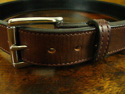 """Mens THICK Brown Stitched Bullhide Gun Belt 1.5"""" Wide Fits 33-34"""" Made in USA"""