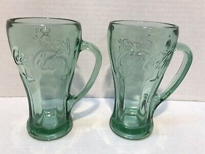 Pair Of Green Grass Coca Cola Handled Mugs Libby *Free Shipping*