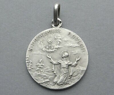 French, Antique Religious Silver Pendant. Saint Paschal Baylon. Sterling Medal.