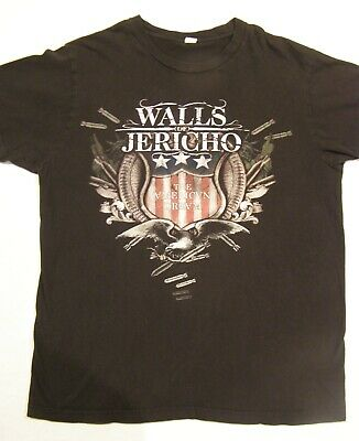 """HORN WALLS OF JERICHO T-SHIRT HARDCORE BAND NEW** 2//SIDED /""""S,M,L,XL/"""""""