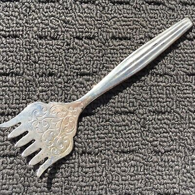 """MAYELL """"Silver"""" Vintage Ornate Silverplated Fish Fork 6-Pronged Eating Utensil"""