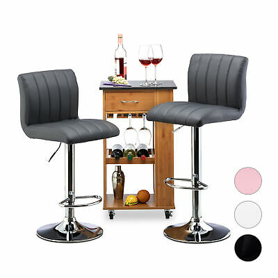 Height-Adjustable Barstool Set of 2, Swivel Counter Chairs, Soft, Padded