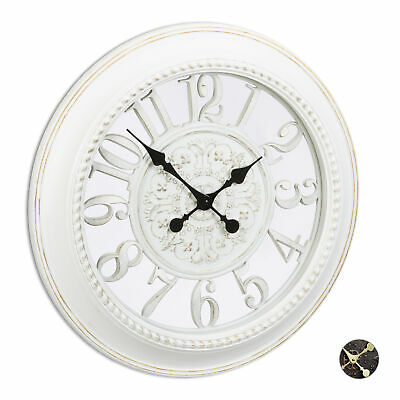 XL Round Wall Clock, Battery Operated Kitchen Clock, Hanging Clock, Shabby Chic