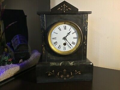 Antique vintage welsh black slate and marble mantle clock with key