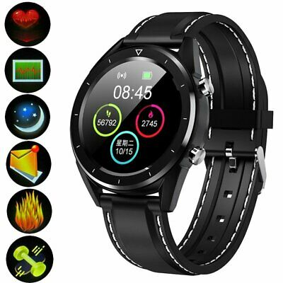 Black ECG Smart Watch Fitness Tracker Blood Pressure Heart Rate Tempered Mirror
