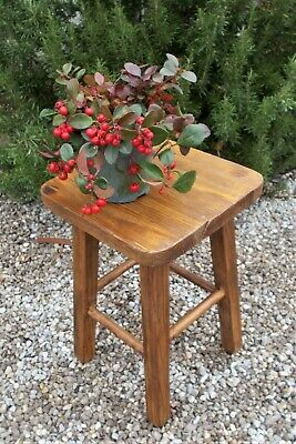 wooden stool, vintage french,solid pine bedside table,lamp table,plant stand