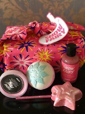 LUSH SNOW FAIRY GIFT SET  Shower Gel Body Conditioner  Bath Bomb Bubble Bar Gift
