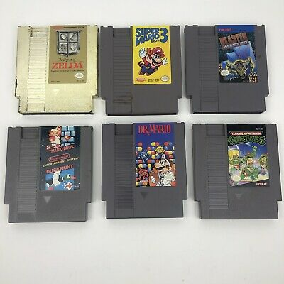 Nintendo NES Lot of 6 Good Games: Dr Mario, Duck Hunt Mario Bros, Zelda