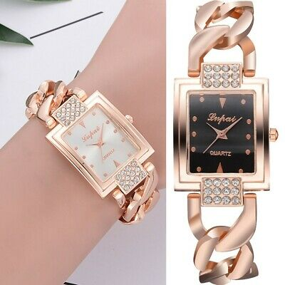 Fashion Women Square Crystal Stainless Steel Watch Quartz Bracelet Watch Wrist