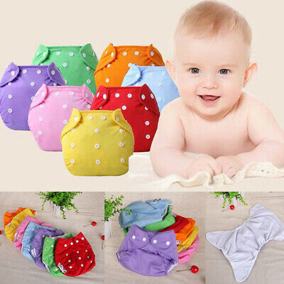 Newborn Baby Kids Solid Reusable Nappies Adjustable Diaper Washable Cloth Diaper