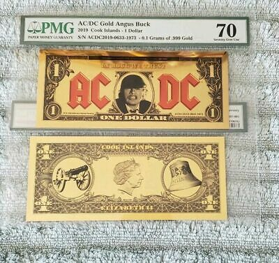 2019 COOK ISLAND $1 - 1/10th GRAM of GOLD - AC/DC - PMG 70 EPQ ANGUS YOUNG BUCK