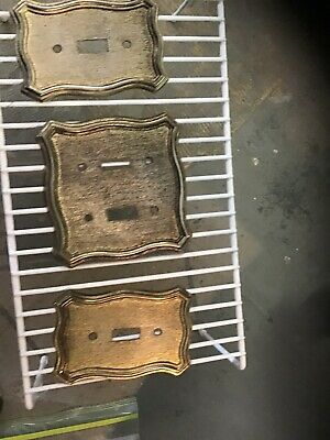Vintage Light Switch Plates 1968 American Tack And Howe Co.double 3 Piece Gold