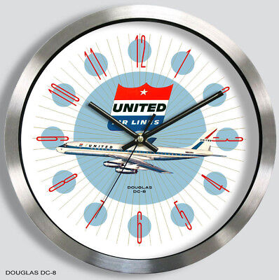 UNITED AIRLINES DOUGLAS DC-8 WALL CLOCK METAL 1960s