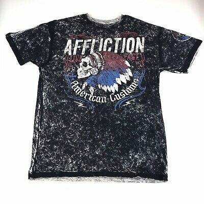 Men's AFFLICTION Live Fast American Customs T Shirt Size XL #475 Made In USA