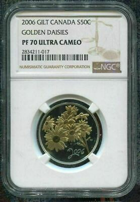 2007 CANADA 50c - FORGET ME NOT FLOWER - NGC PF70 UC /w BOX & COA - TOP POP COIN
