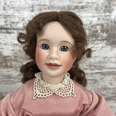 Wendy Lawton Porcelain Doll 1993 Rose Dress Curly Brown Hair Blue Eyes Pearls