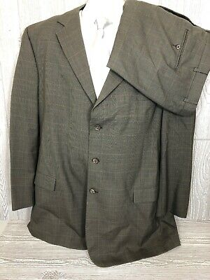Jos A Bank Mens Beige/Taupe Plaid Wool 2pc Suit 50XL 46x32 (t9)