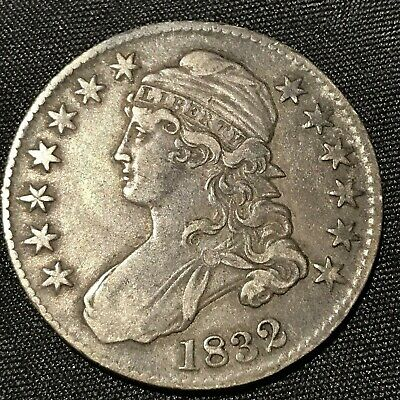 1832   Half Dollar Silver Capped Bust 50 Cents  Lettered Edge Xf    #Y47