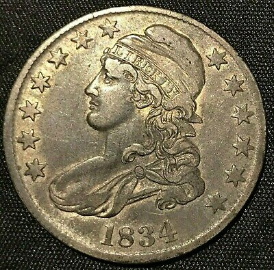 1834  Half Dollar Silver Capped Bust 50 Cents  Lettered Edge Vf   #Y48