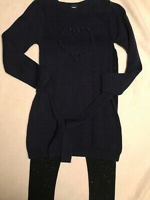 NEW~ Girl Blue Long Heart Sweater With Leggings Size M 7/8