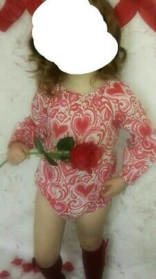 heart print girls romper clothes size 3-4
