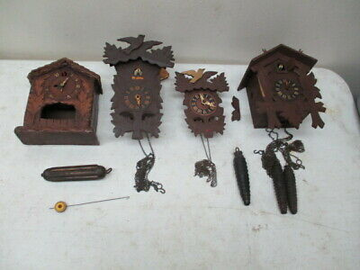 Lot Of 4 Small Cuckoo Clocks-For Parts Or Repair
