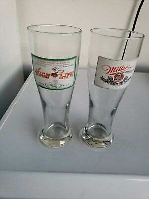 Vintage Miller High Life Tall Pilsner Glasses Set Of 2