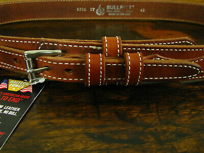 """Mens Thick Medium Brown Bullhide Leather Ranger Belt Fits 40-41"""" Made in USA"""