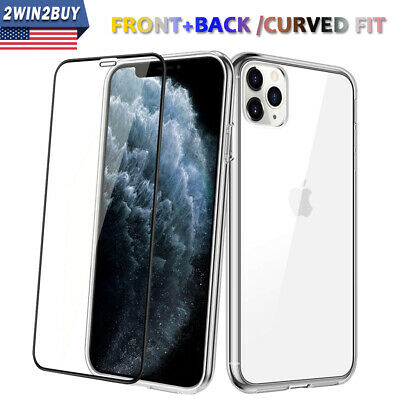 Fr iPhone 11 Pro XS MAX XR Soft Clear Case Cover+Tempered Glass Screen Protector