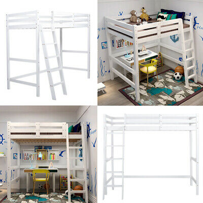 Kid Single Twin Full Size Solid Wood High Loft Twin Bed Children Bunk Ladder Bed