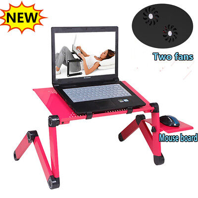 Portable Adjustable Laptop Table Desk Computer Stand Bed Sofa Study Tray Red