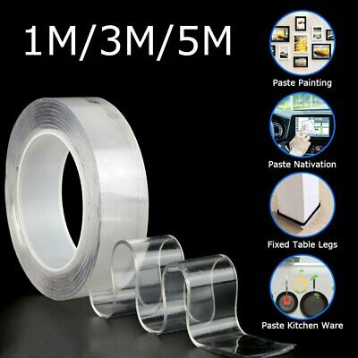 Double-Sided Nano Magic Tape Traceless Clear Adhesive Invisible Gel Anti-Slip QV