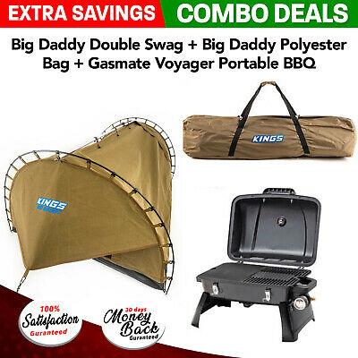 Big Daddy Double Swag + Big Daddy Polyester Bag + Gasmate Voyager Portable BBQ