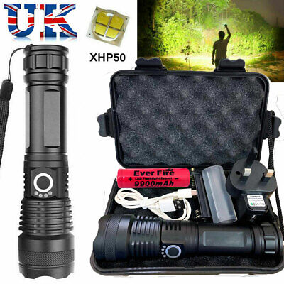 900000 Lumens XHP50 High Power Zoom LED Flashlight Torch Rechargeable Headlamp