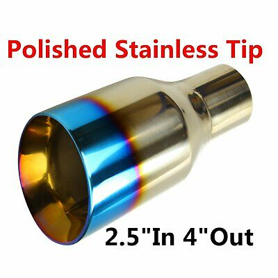 """2PCS 2.5/"""" In 3.5/"""" Out Blue Burnt Exhaust Duo Layer Tip Polished Stainless Steel"""