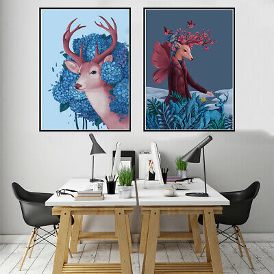 Personification Deer Canvas Poster Picture Wall Hangings Home Art Decor Gift