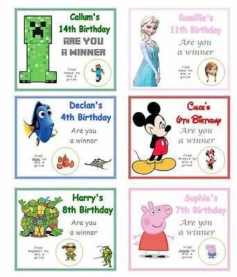 10 PERSONALISED BIRTHDAY PARTY SCRATCH CARDS WITH ANY THEME