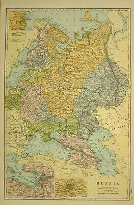 1912 Large Antique Map Russia Transcaucasia Crimea St Petersburg Poland Finland